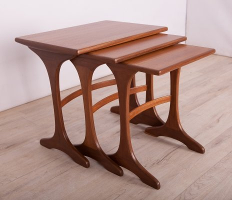 Set of 3 Teak Pull Out Tables by Victor Wilkins for G-Plan, 1970s