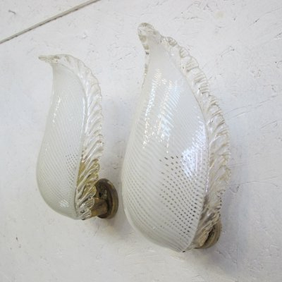 Pair of Classic Murano glass & brass wall lamps, 1970s
