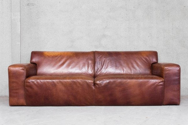 Patinated Cognac Brown Leather Sofa, 1990s