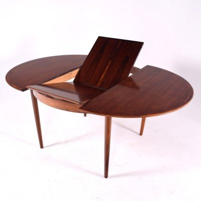 Midcentury Danish Rosewood Extending Dining Table by Skovby