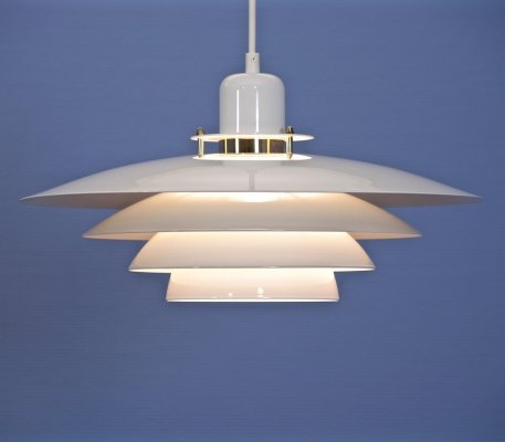 Large Danish hanging lamps in white with brass accent, 1980s