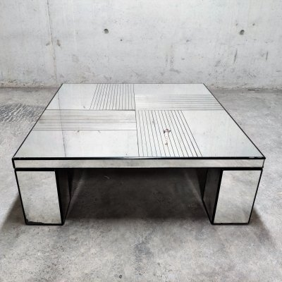 Vintage mirrored coffee table, 1970s