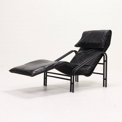 Leather Chaise Longue Lounge Chair, 1980s