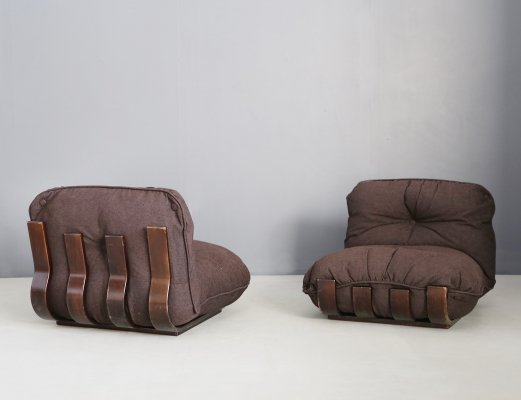 Pair of MidCentury Wood & Fabric lounge chairs by Frigerio, 1970s
