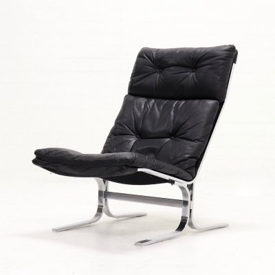 Mid Century Lounge Chair in Black Leather & Chrome, 1970s