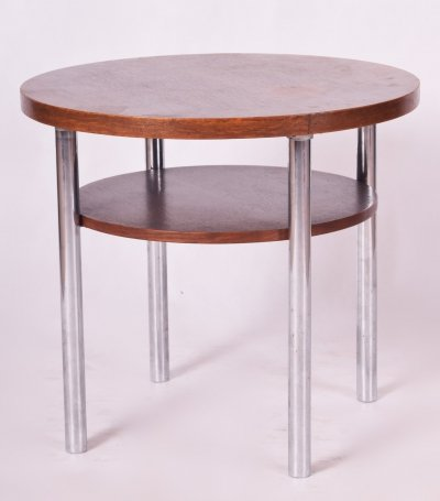 Czech Round Oak & Chrome Bauhaus Table by Mücke & Melder, 1930s