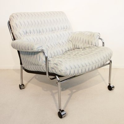 Vintage Scandinavian lounge chair with pastel upholstery