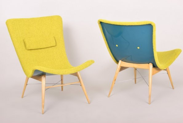 Green Pair of Beech lounge chairs, Czechia, 1950s