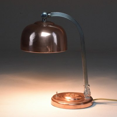 French Art Deco Copper & Brass Table Lamp, 1930s