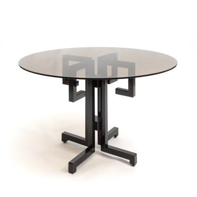 Memphis-style dining or side table with smoked glass, 1980s