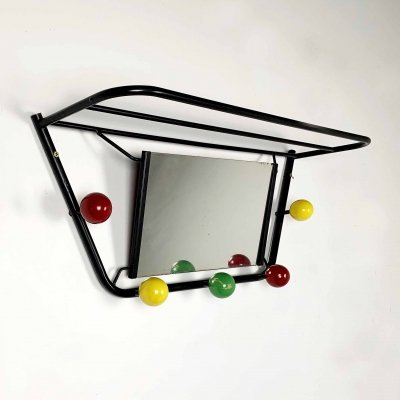 Wall Coat Rack & Mirror by Roger Feraud, 1960s