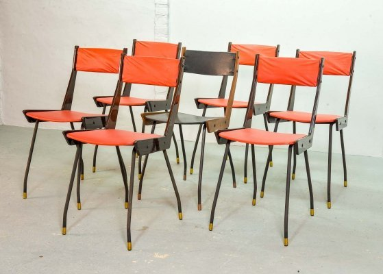 Set of 6 Gianfranco Frattini Red Dining Chairs for R&B Italia, 1950s