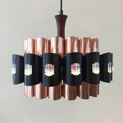 Copper hanging lamp by Werner Schou for Coronell Denmark, 1960s