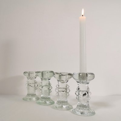 Set of four Glass Candle Holders by Staffan Gellerstedt for Pukeberg, 1970's