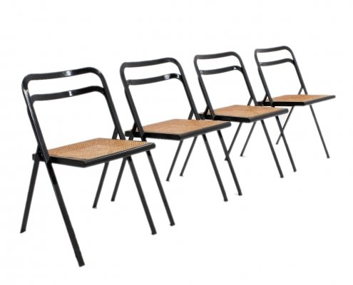 Set of 4 folding chairs by Giorgio Cattelan for Cidue, 1970s