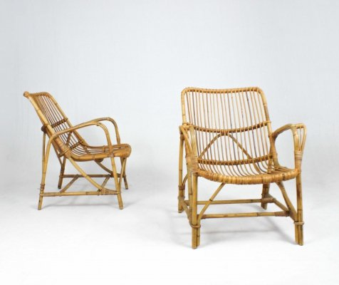 Pair of Italian rattan lounge chairs, 1960s