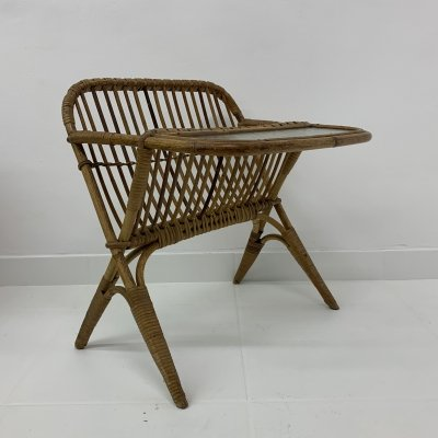 Bamboo side table with magazine rack, 1960's