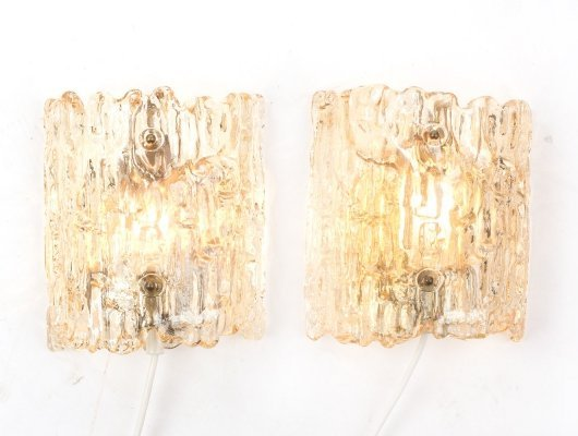 Set of 2 Scandinavian crystal sconces by Carl Fagerlund for Orrefors, 1970s