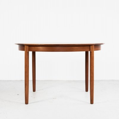 Danish round dining table in teak with 2 extensions, 1960s