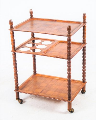 Danish Bobbin Trolley with blocked wooden pattern