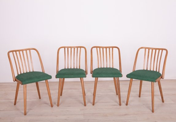 Set of 4 Green Dining Chairs by Antonin Suman for Ton, 1960s