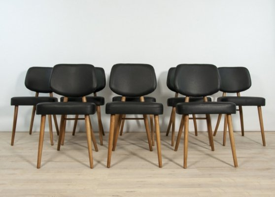 Set of 8 Leather Dining Chairs, 1970s