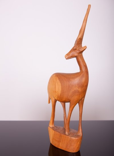 Teak Antelope figurine, Great Britain 1960s