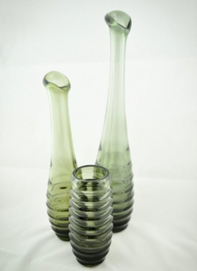 Set of 3 Carola Vases by Fritz Keuchel for VEB Schwepnitz, 1960s