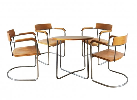 Modernist set of Four Tubular Chairs & Table by the Vichr Company