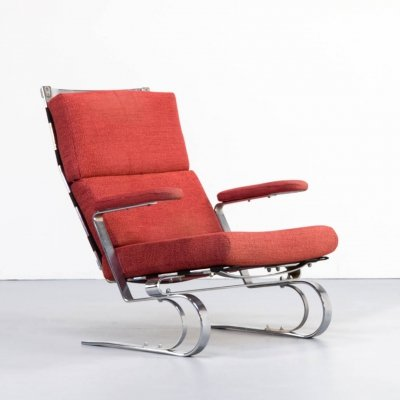 Chrome metal framed lounge & relax chair, 1970s