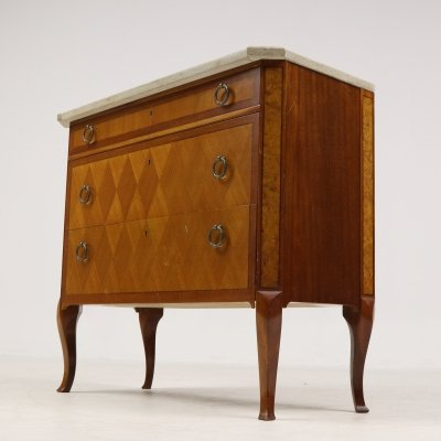 French walnut-mahogany veneer commode, 1920's