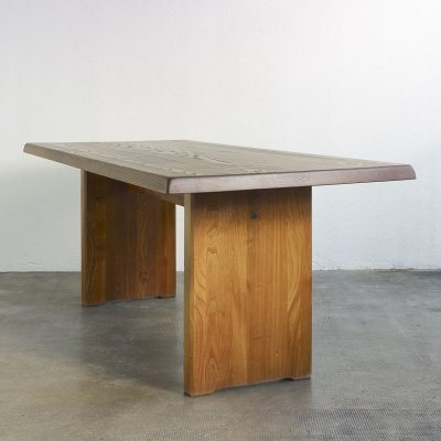 Dining table T14C in solid elmwood by Pierre Chapo
