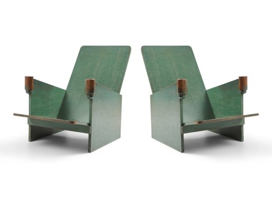 Constructivist Pair of Green Lounge Chairs, 1920s