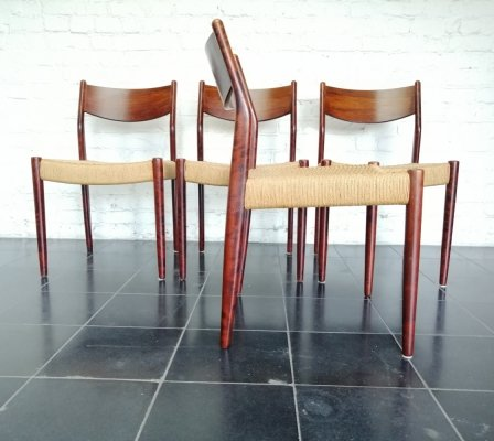 Set of 4 paper cord dining chairs by Fristho, 1960s
