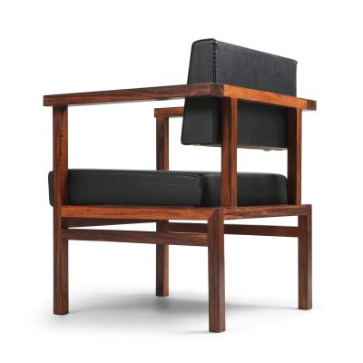 Wim Den Boon Executive Chair in Black Leather & Rosewood, 1950s