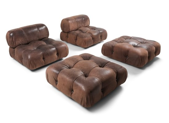 Camaleonda Lounge Chairs In Original Brown Leather by Mario Bellini, 1970s