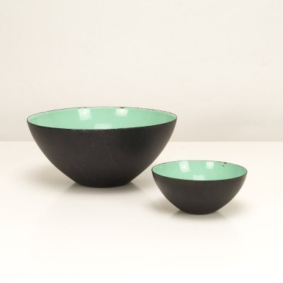 Pair of Mint Green Krenit Bowls by Herbert Krenchel, Denmark 1950s