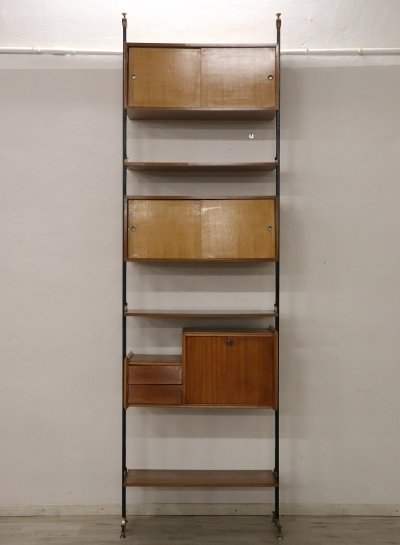 Italian Design Ceiling to Floor Bookcase in Teak & Iron, 1950s