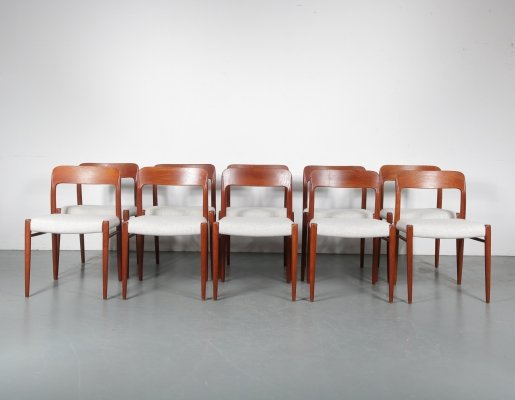 Set of 10 Model 75 dining chairs by Niels Otto Møller for JL Møllers Møbelfabrik, 1960s
