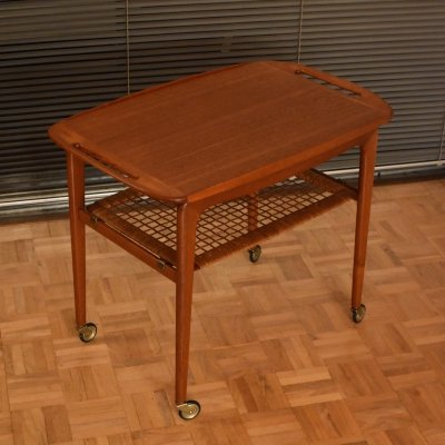 Johannes Andersen Teak, Brass & Rattan Serving Trolley