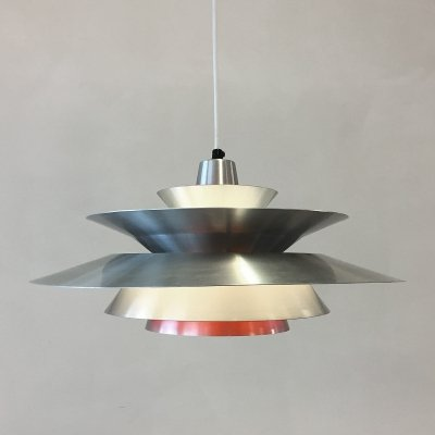 Aluminium hanging lamp by Bent Nordsted for Lyskaer Belysning, 1960s