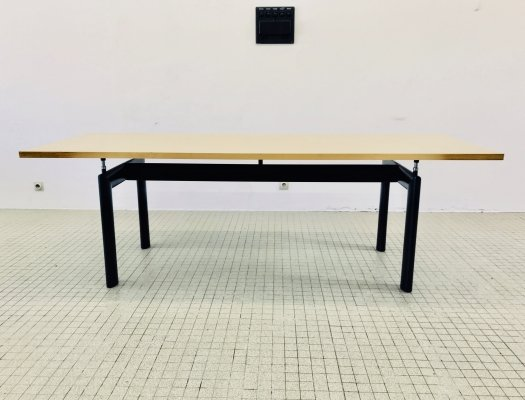 Vintage Cassina LC6 dining table with a natural oak top by Le Corbusier & Pierre Jeanneret, 1990s