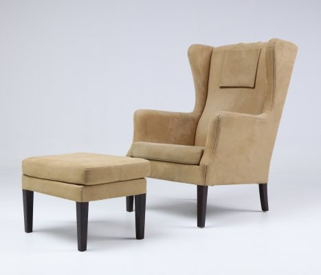 'Wing' armchair with ottoman by Orla Molgaard-Nielsen for Nielaus & Jeki, 1990s