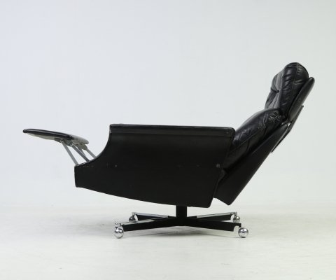 Black leather lounge armchair by Himolla, 1960s