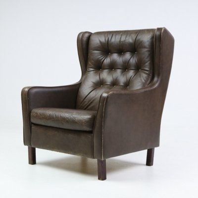 Brown leather 'Wing' armchair, Denmark 1970's