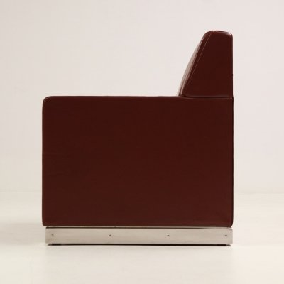 Cassina 'Made to order' armchair in maroon leather, 1980s