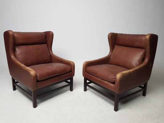 Danish architectural set of 2 armchairs, 1960's