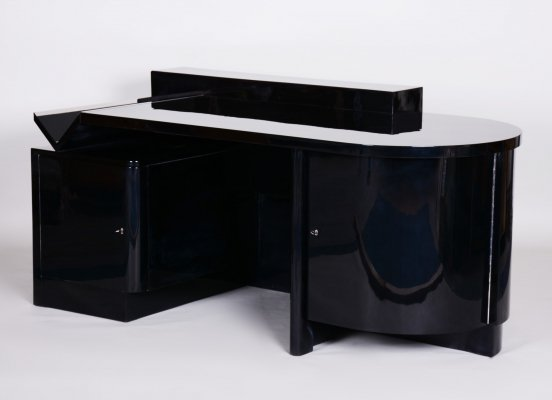 Czech Avantgarde High gloss Black Art Deco Writing Desk, 1920s