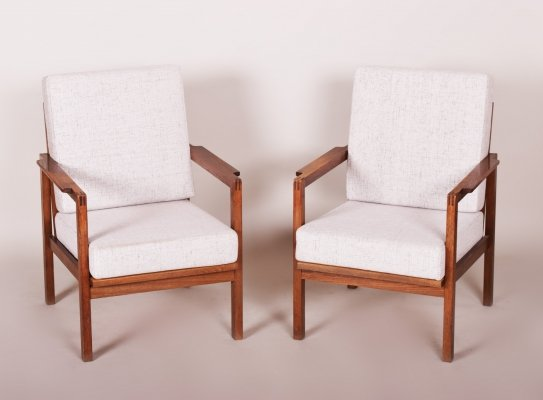 Pair of Czech Oak Armchairs, 1930s