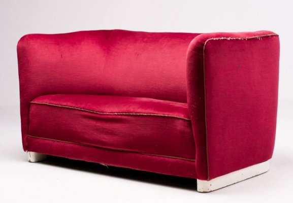 Curved sofa by Ole Wanscher for Fritz Hansen, 1930s